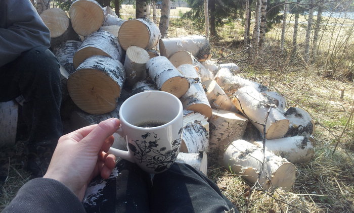 Kaffe i skogen. S mysigt s det gr ont! :D
