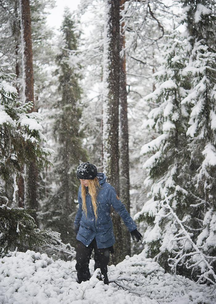 På några timmar hade det mörka novemberlandskapet förvandlats till ett ljust och vintrigt landskap. Gick ut i skogen en stund för att känna på vinterkänslan en stund. Att lufsa runt i en snöig granskog är bland det bästa jag vet.