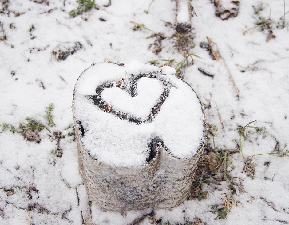 Hjärta i snö