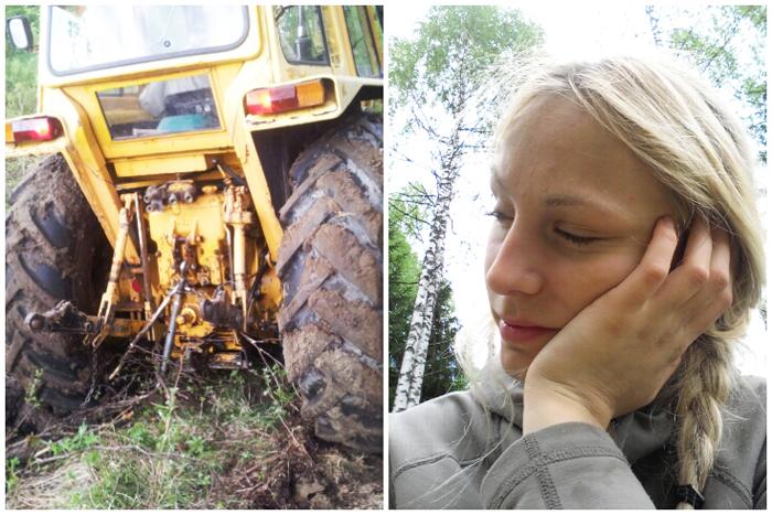 Idag i skogen när jag och Tage var för att hämta mer klabbar. Som jag skrivit innan är det riktigt svårt att köra in i skogen där då marken är så mjuk, så vi kan bara köra några lass åt gången, annars fastnar traktorn i geggan. Medan han kör och lämnar lasset sitter jag kvar på en stubbe och väntar. Då somnade jag nästan varje gång. Trött? JA!