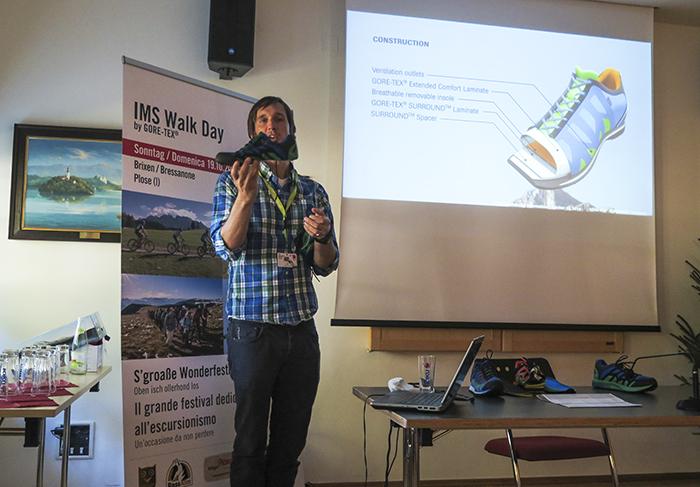 När jag kom fram till Brixen och platsen där eventet skulle hålla till fick vi gå på en föreläsning av Gore Tex.