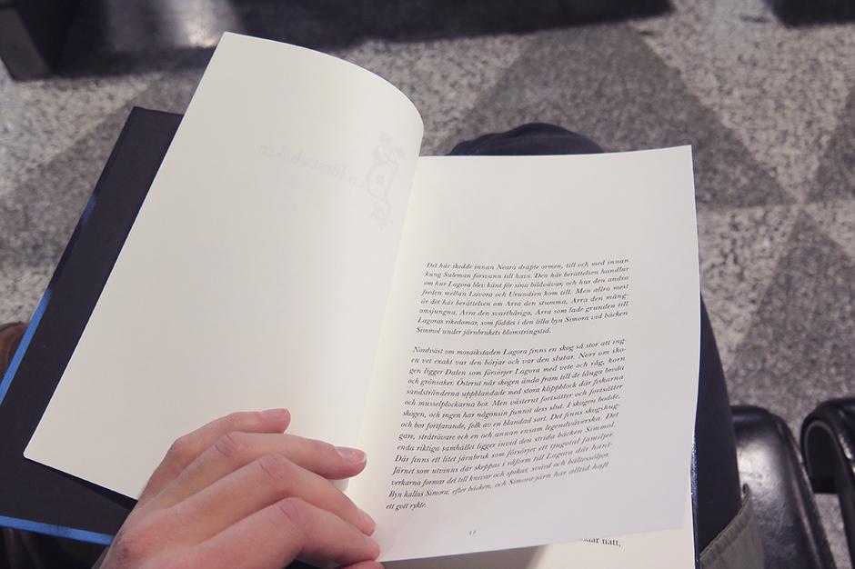 Jag hade till och med lyxen att läsa en stund innan jag somnade. Igår efter föreläsningen kom en jättesnäll bloggläsare fram. Hon hette Nora, såg ut som en älva och gav mig en bok som hennes kompis skrivit.  Så jag började läsa den i natt. Kunde inte varit bättre timing.