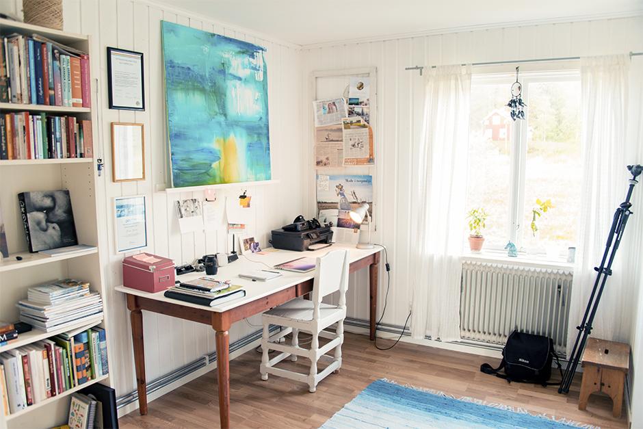 Och här har vi mitt arbetsrum i anslutning till köket.