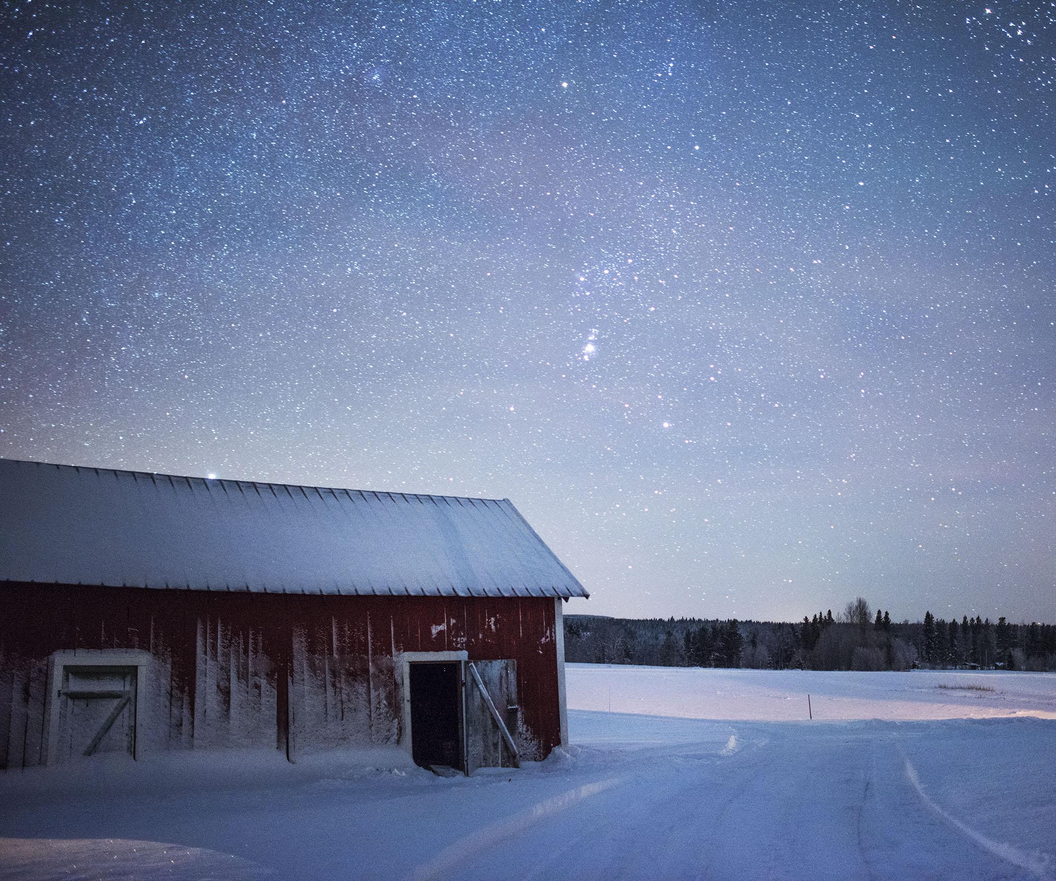 Vedboden under stjärnorna i -30 grader.